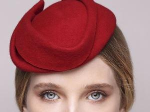 red felt fascinator, red cocktail hat