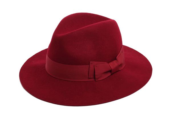 red fedora felt hat